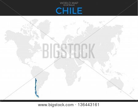 Republic of Chile location modern detailed vector map. All world countries without names. Vector template of beautiful flat grayscale map design with Argentina country and border location