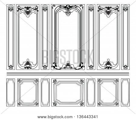 Decorative Damask Ornamented frames for walls or backgrounds. Interior design decoration panels. Classic Baroque Vintage style. Vector frame