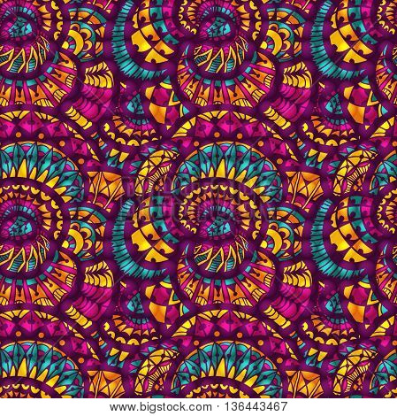 Seamless pattern - bright abstract drawing in doodle style. The illustration contains transparency and effects. EPS10