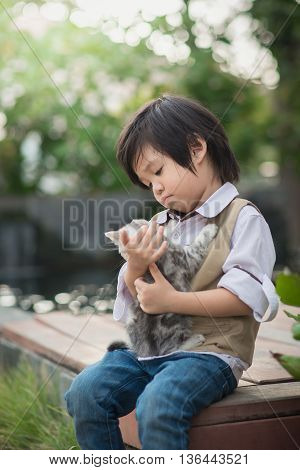 Cute Asian boy holding american short hair kitten with sunshine in the park