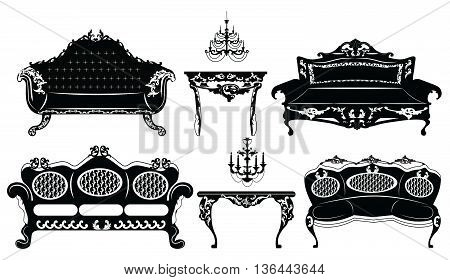 Classic Baroque furniture set. Vector sketch furniture with luxury ornaments