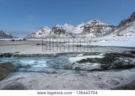 Skagsanden Beach in the winter on the Lofoten Islands North Norway