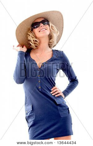 Summer woman wearing a hat and sunglasses isolated over a white background