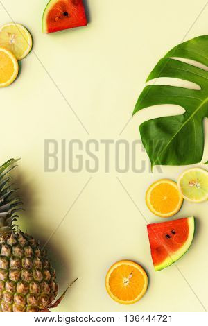 Summer Mockup Copyspace Fruits Oranges Watermelon Pineapple Concept
