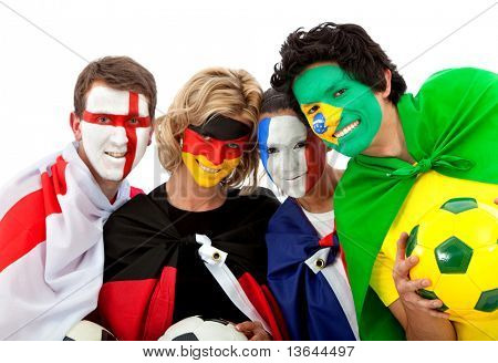 Football fans with flag painted on their faces - isolated over a white background