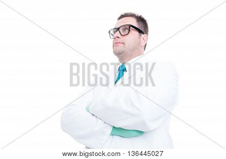 Male Scientist Posing With Arms Crossed Low Angle