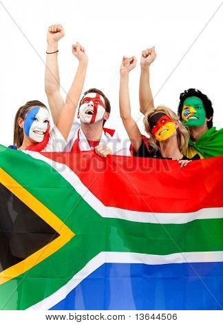 Football fans with painted faces holding the South African flag - isolated over a white background