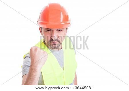 Portrait Of Angry Worker Showing His Fist
