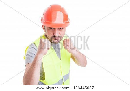 Aggressive Handsome Constructor Acting Violent And Fighting