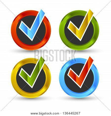 shiny colored check mark with black background and shadow