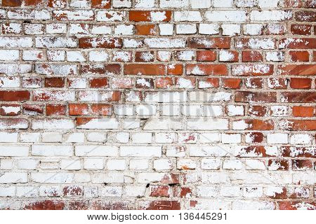 Old Red Brick Wall Painted White