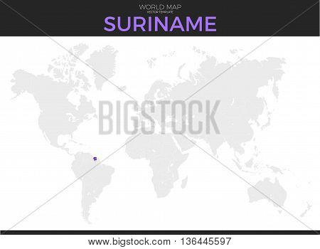 Republic of Suriname location modern detailed vector map. All world countries without names. Vector template of beautiful flat grayscale map design with selected country and border location