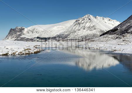Winter landscape of Lofoten Islands North Norway
