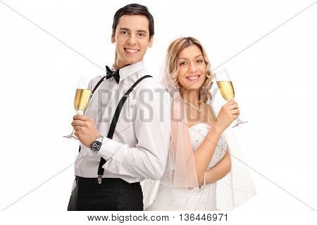 Newlywed couple posing together and holding white wine isolated on white background
