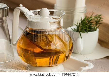 herbal tea in clear glass tea pot
