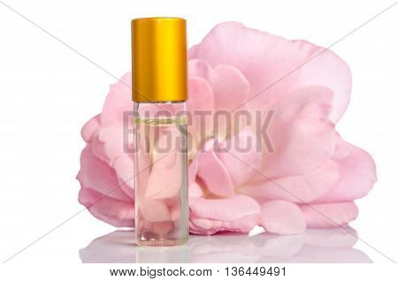 Face cream bottle with flowers isolated on white