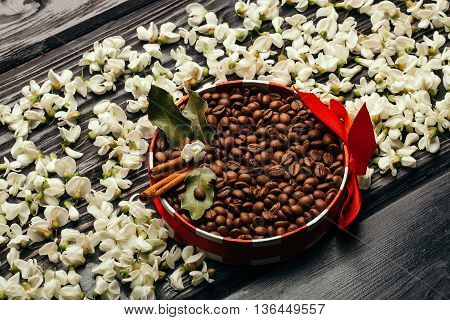 Coffee beans in decorated bowl with red bow in white acacia blossoming flower petals on dark wooden background