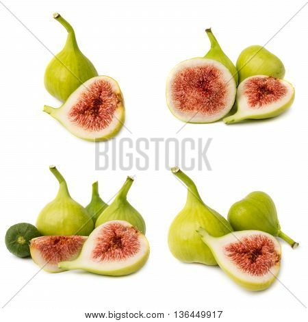 Collection of fresh fig fruits isolated on white background