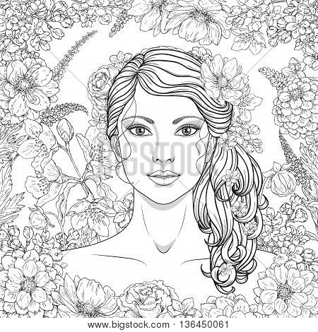 Hand drawn girl with flowers. Doodle floral frame. Black and white illustration for coloring. Monochrome image of woman with long curly hair. Vector sketch.