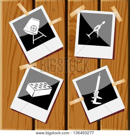 4 images: caliper, hand drill, hollow brick, concrete mixer. Industrial tools set. Photo fframes on wooden desk. Vector icons.