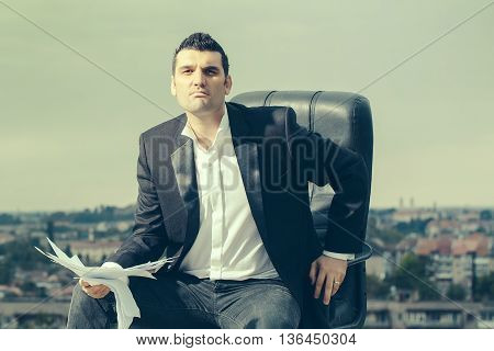 Businessman With Paper Outdoor
