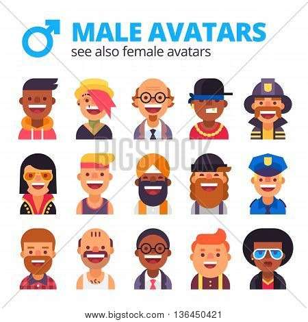 Collection of cool male avatars. Different skin tones, clothes and hair styles. Modern and simple flat design.