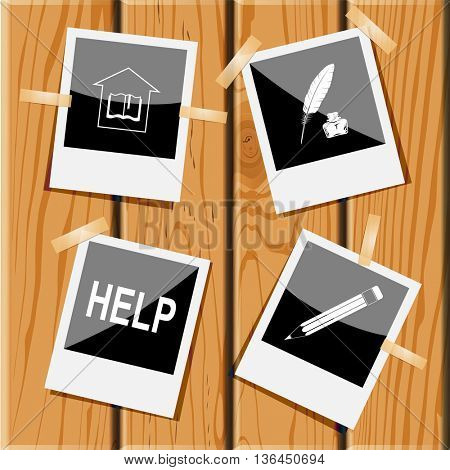 4 images: library, feather and ink bottle, help, pencil. Education set. Photo fframes on wooden desk. Vector icons.