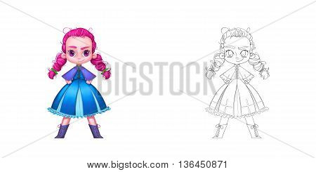 Coloring Book and Princess Girl Character Design Set 17 The Freckled Cheeks Red Ponytails Princess isolated on White Background Realistic Fantastic Cartoon Style Character Story Card Sticker Design