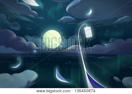 Watercolor Style Video Game Digital CG Artwork Concept Art Illustration Set 5: The Fairy Boats in the Moon Night. Realistic Fantastic Cartoon Style Character, Background, Wallpaper, Story, Card Design