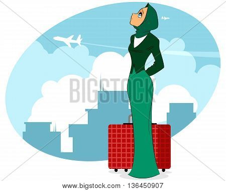 Vector illustration of a woman in airport