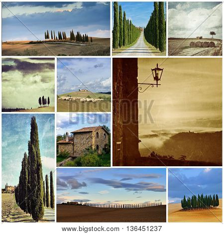 Idyllic Tuscan landscape Italy Europe. Collage set