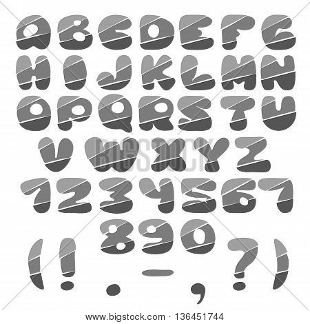 The original alphabet with numbers and punctuation marks