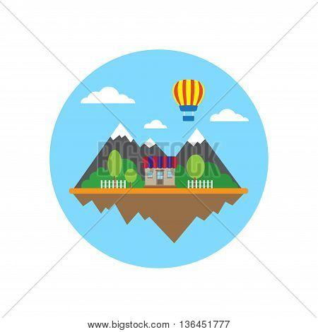 Flat wallpaper with mountains, house balloon in circle