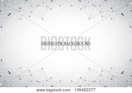 Geometric abstract background with connected line and dots. Big data composition. Molecule and communication background. Graphic background for your design. Vector illustration