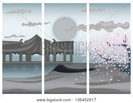Illustration of Chinese colorful landscape. Seaside and Cherry flower tree in a trilogy. Vector