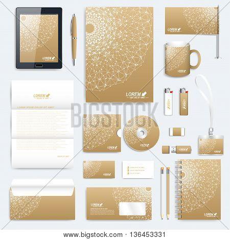 Golden set of vector corporate identity template. Modern business stationery mock-up. Medical branding design. Golden linear sign, symbol, logo. Golden corporate stationery