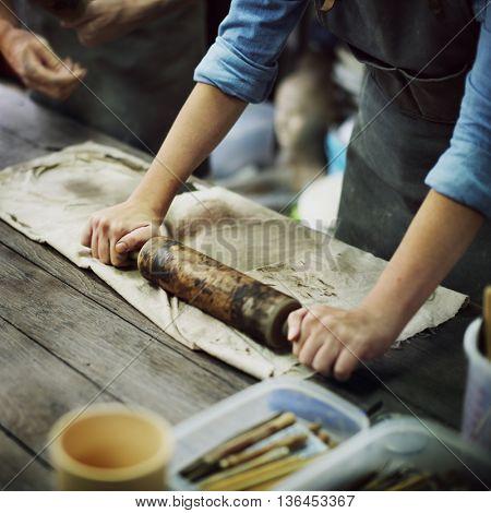 Craftsman Artist Pottery Skill Workshop Concept