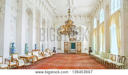 BUKHARA UZBEKISTAN - APRIL 29 2015: The Sitorai Mokhi-Khosa Palace is famous for its beautiful interiors richly decorated in Islamic tradition on April 29 in Bukhara.