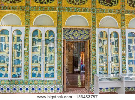 BUKHARA UZBEKISTAN - APRIL 29 2015: The precious collection of Eastern porcelain vases in the glass room of Sitorai Mokhi-Khosa Palace on April 29 in Bukhara.