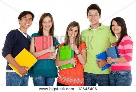 Grupo de alumnos con portátiles - aislados sobre un fondo blanco
