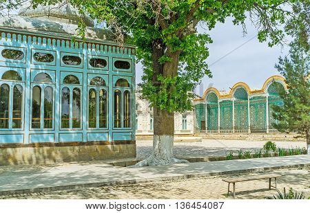 BUKHARA UZBEKISTAN - APRIL 29 2015: The Sitorai Mokhi-Khosa Palace nowadays serves as the museum surrounded by large scenic park on April 29 in Bukhara.