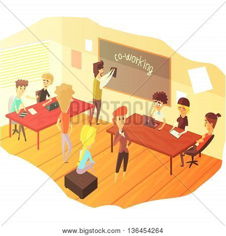 Co-working And Teamwork Class Colorful Childish Cartoon Design Vector Illustration