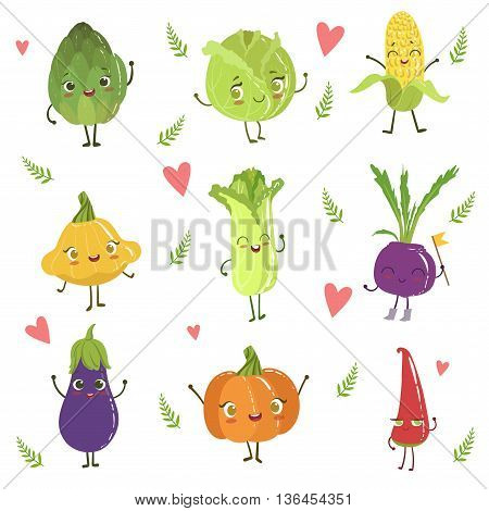 Funny Girly Design Vegetables Collection Of Adorable Flat Cartoon Humanized Vector Drawn Characters