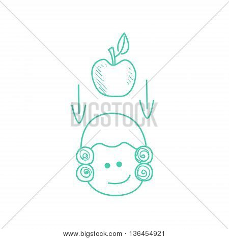 Apple Falling On Newtons Head Funny Hand Drawn Childish Illustration In Funny Comic Style On White Background