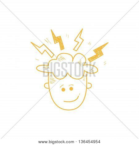 Person With The Head Sparkling With Ideas Funny Hand Drawn Childish Illustration In Funny Comic Style On White Background