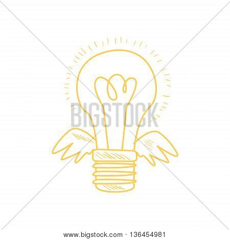 Winged Electric Idea Bulb Funny Hand Drawn Childish Illustration In Funny Comic Style On White Background