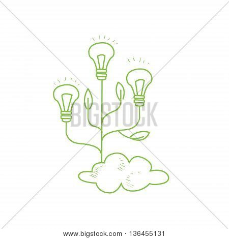 Three Fruiting With Symbolic Idea Bulbs Funny Hand Drawn Childish Illustration In Funny Comic Style On White Background