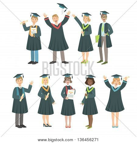 Graduating Students In Black Mantle Set Of Simple Cartoon Flat Vector Colorful Characters On White Background