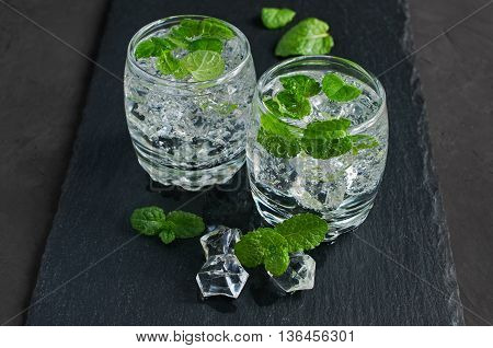 Water With Ice Cube And Mint