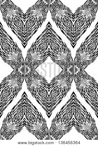 Seamless Pattern with Elements of Doodle Feather on White